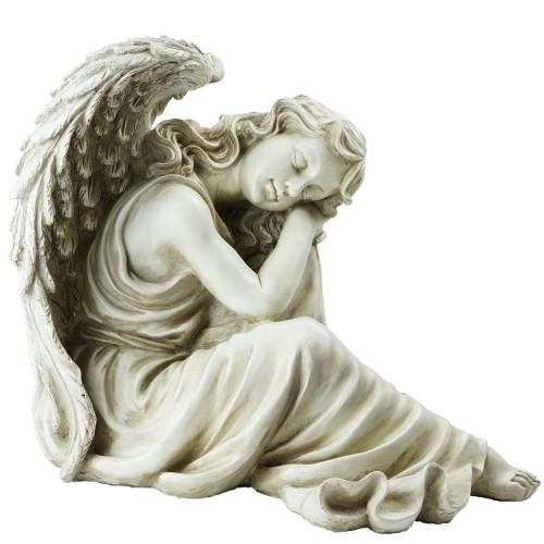 """19"""" Gray Resting Angel Religious Outdoor Garden Statue"""