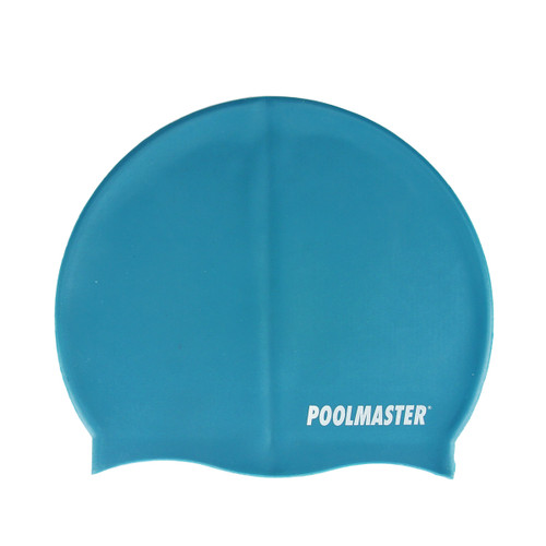 """8.5"""" Aqua Blue Solid Swim Cap for Swimming Pools and Spas for Teens and Adults"""