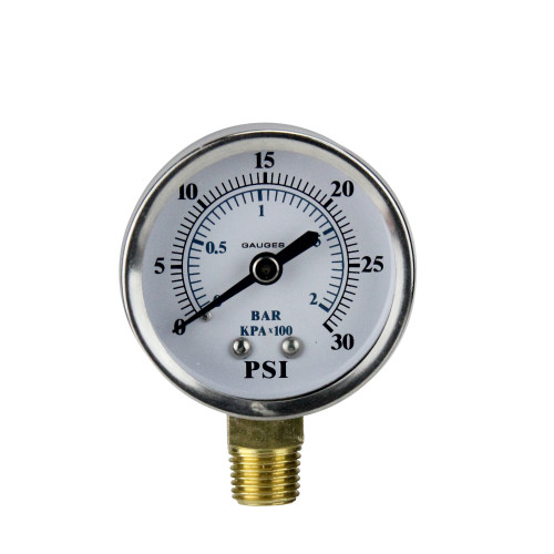 """2.75"""" (50mm) Silver and White Side Mount Stainless Steal Pressure Gauge"""