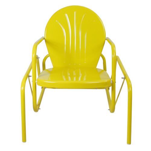 Outdoor Retro Metal Tulip Glider Patio Chair, Yellow