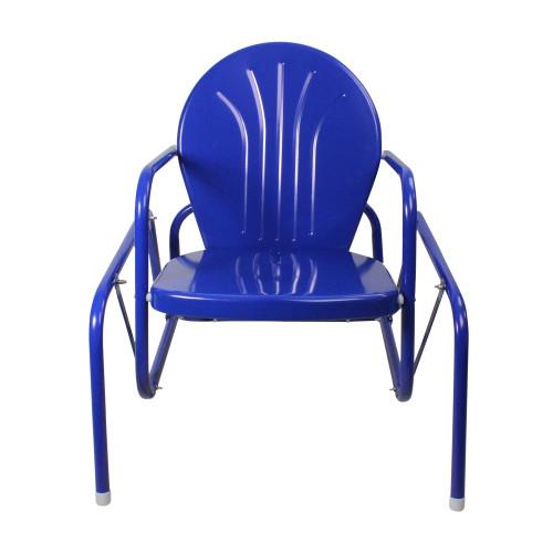 Outdoor Retro Metal Tulip Glider Patio Chair, Blue