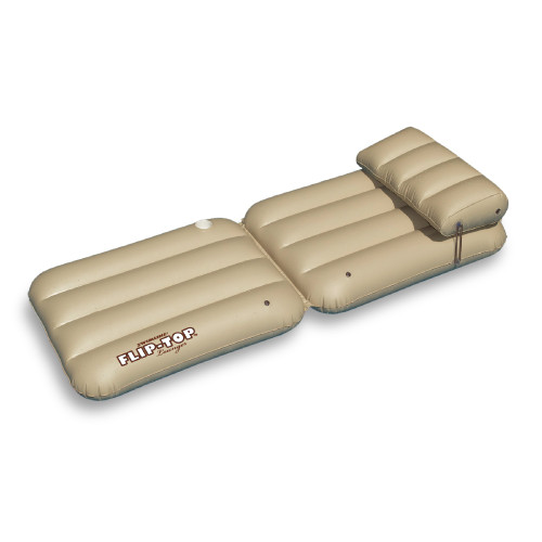 "88"" Inflatable Beige Adjustable Flip-Top Swimming Pool Lounger Raft"