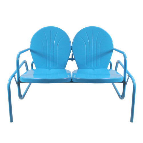 2-Person Outdoor Retro Metal Tulip Double Glider Patio Chair, Turquoise Blue