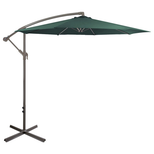 10ft Offset Outdoor Patio Umbrella with Hand Crank, Hunter Green