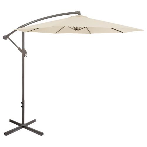 10ft Offset Outdoor Patio Umbrella with Hand Crank, Beige