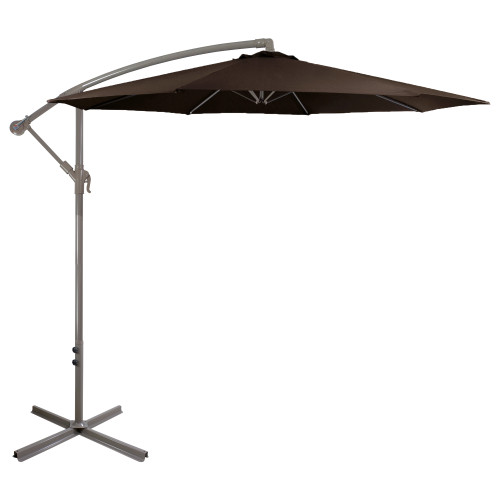 10ft Offset Outdoor Patio Umbrella with Hand Crank, Brown