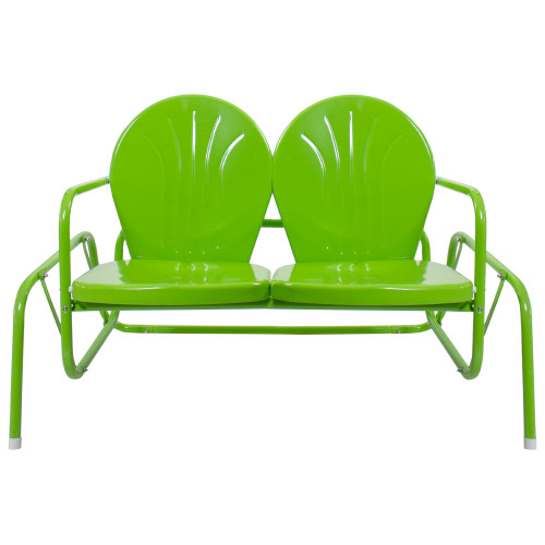"""41"""" Outdoor Retro Metal Tulip Double Glider Patio Chair, Lime Green"""