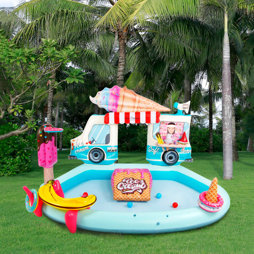 """82"""" Ice Cream Truck Inflatable Swimming Spray Pool and Play Center"""