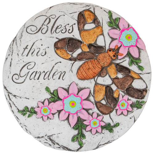 """10"""" Bless this Garden Outdoor Floral Garden Stone"""