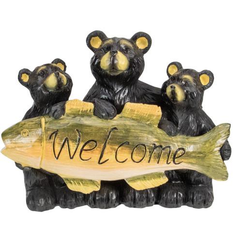 """10"""" Bear Family Trio Welcome Sign Outdoor Garden Statue"""