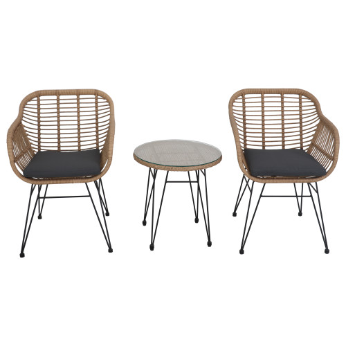 3-Piece Coral Bay Rattan Outdoor Patio Bistro Set with Cushions