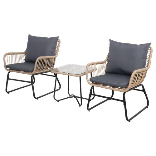 3-Piece Santa Cruz Rattan Outdoor Patio Chat Set with Cushions