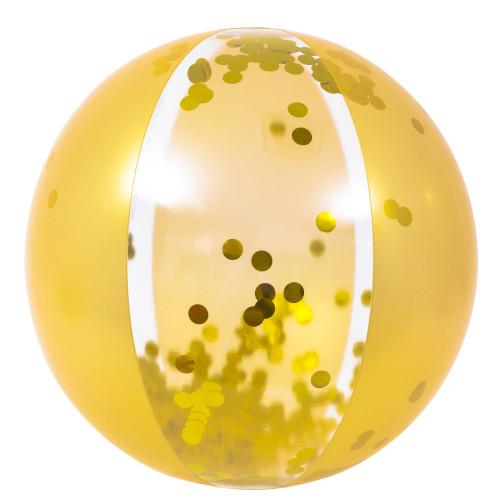 """19.5"""" Gold Glitter Sequin Inflatable Beach Ball"""