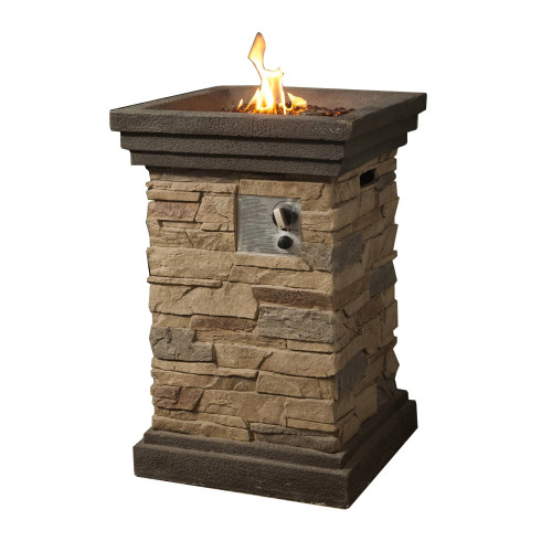 """29.25"""" Classic Stone Column Style Gas Fire Pit"""