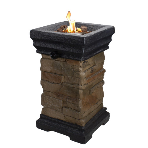"""18.75"""" Classic Stone Outdoor Table Top Gas Fire Pit"""