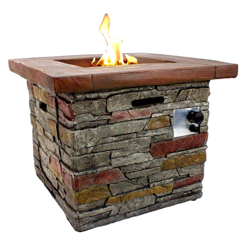 "30.25"" Classic Stone Square Gas Fire Pit"