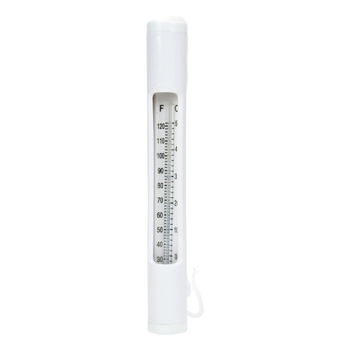 """6.75"""" White Round Swimming Pool Thermometer with White Cord"""