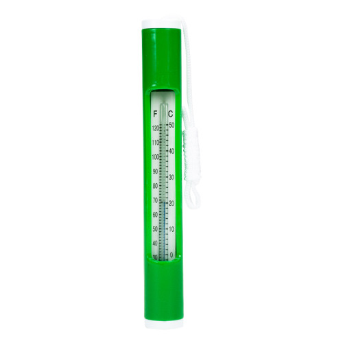 """6.75"""" Green Round Swimming Pool Thermometer with White Cord"""
