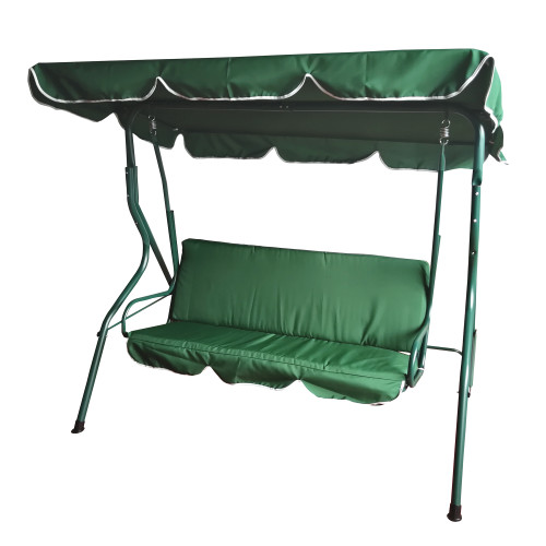 3-Seater Outdoor Patio Swing with Adjustable Canopy - Green