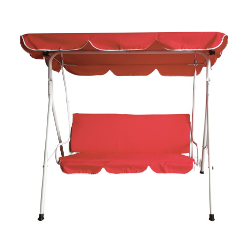 3-Seater Outdoor Patio Swing with Adjustable Canopy - Red