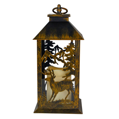"""13.5"""" Deer and Tree Christmas Lantern with Flameless LED Candle"""