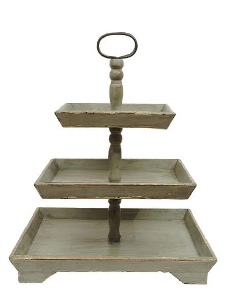 Wood 3-Tier Tray, Grey
