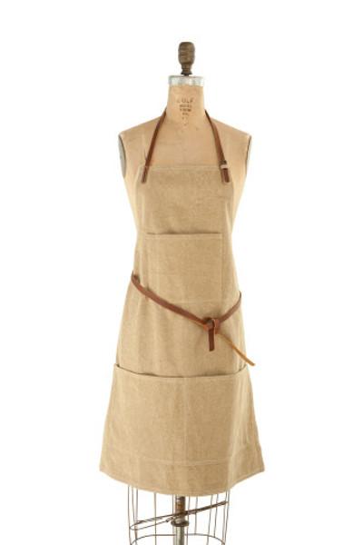 Canvas Apron w/ Pockets & Leather Ties, Khaki