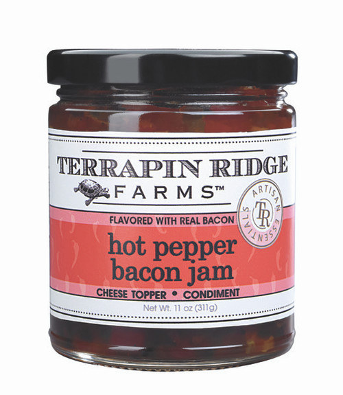 Hot Pepper Bacon JamRoasted red bell pepper puree, jalapeno peppers and bacon combine to create an addictive jam. For a quick appetizer, pour over cream cheese and serve with crackers. Use straight out of the jar as a dip. Pairs perfectly with strong cheeses. Delicious served with grilled fish and chicken or as a condiment on a sandwich, wrap or Panini.