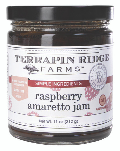 Raspberry Amaretto JamBright, tangy raspberries and the subtle flavor of almonds and vanilla combine to make a delightful and tasty jam. Perfect spread over bagels and cream cheese, pancakes and waffles. Excellent jam for chocolate layer cake or thumbprint cookies. Add to sautéedchicken breast to make a savory sauce or to grilled cheese panini's