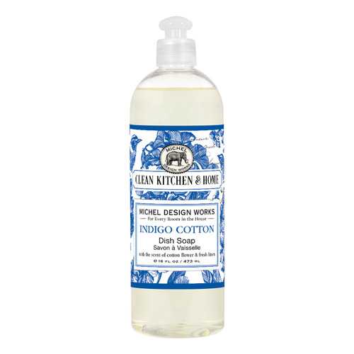 The clean, fresh scent of cotton flower and fresh linen is just wonderful in our Indigo Cotton dish soap.