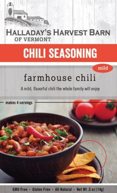 Spice up your dinner tonight! Halladay's Farmhouse Chili will be the base you need to create your family's new favorite dinner. With a hint of maple sugar, coffee and rich chili flavor our seasoning is the perfect start for a quick and delicious meal.