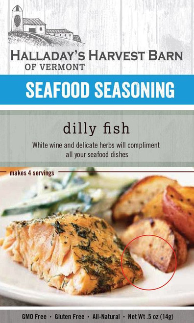 Seafood lovers rejoice. Halladays has been in the kitchen creating the perfect seasoning mix for all your fish and seafood dishes. With a bit of dill, white wine powder, a touch of lemon and a nice mix of herbs just a shake will bring out the flavor in a variety seafood dishes.
