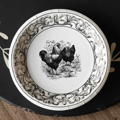 "Black & White Rooster Paper Dinner Plates, 10"", Package of 8"