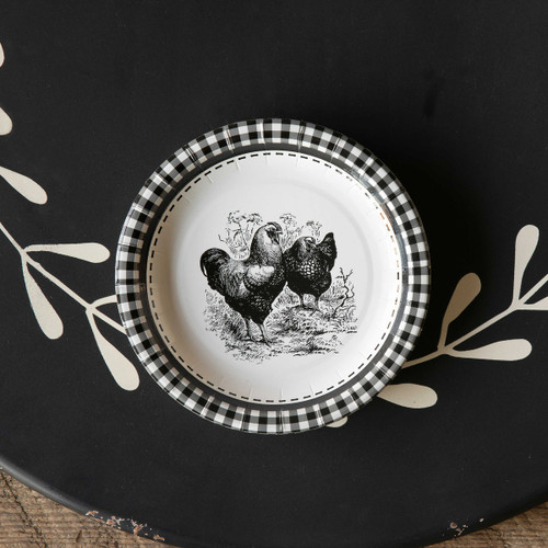 "Black & White Rooster Paper Dinner Plates, 7"", Package of 8"