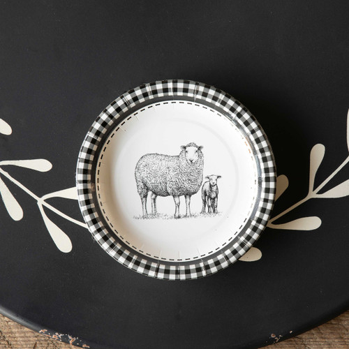 "Black & White Sheep Paper Salad Dessert Plates , 7"", Package of 8"