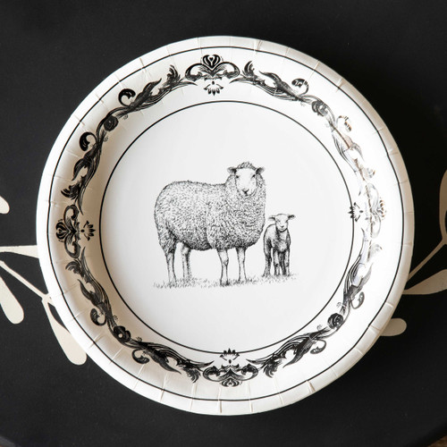 "Black & White Sheep Paper Dinner Plates , 10"", Package of 8"