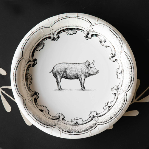 "Black & White Pig Paper Dinner Plates , 10"", Package of 8"