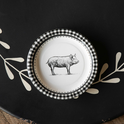 "Black & White Pig Paper Dessert, Salad Plates , 7"", Package of 8"