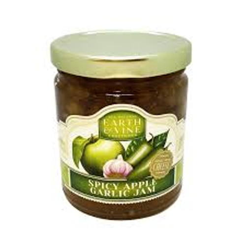 Crisp Granny Smith apples, sizzling jalapeno and zingy garlic makes this a jam to remember. This jam was made to pair with blue cheese and pork chops. Simply serve with sharp cheddar cheese and crackers or atop warmed Brie. Great with pork, chicken or lamb, and if you want decadence, top a juicy blue cheese and bacon burger.  Net Weight 10.5 ounces (297.7 grams)  Great with Cheese ~ Gluten Free ~ All Natural