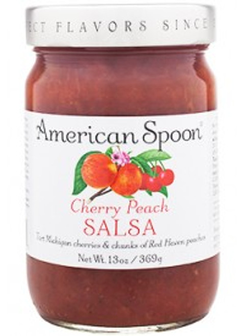 Two of Michigan's most beloved summer fruits together in one jar. This perfectly balanced Fruitlands salsa is one of the most popular items in our collection. It's brimming with whole Montmorency cherries and soft chunks of hand-cut Red Haven peaches. It's a staple around our tasting table and in our homes, and it's delicious served simply with tortilla chips and avocado, or alongside grilled chicken or pork.