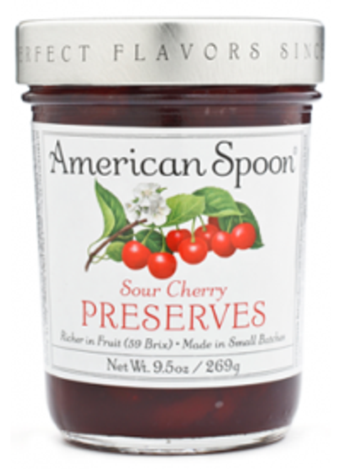 Loaded with Montmorency Cherries, Michigan's most famous fruit. With its deep red color and brightly tart flavor, this perennial Fruitlands favorite has distinguished itself as the finest example of Michigan's most beloved preserve.