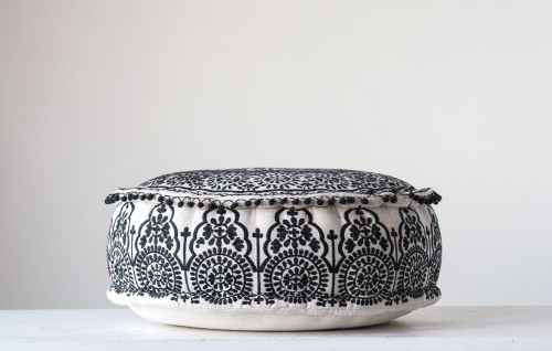 Embroidered Pouf w/ Pom Pom Trim, Black