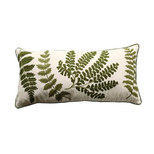 Fern Embroydered Lumbar Pillow