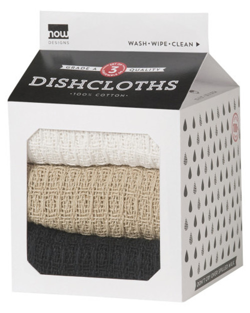 Colorful combinations and classic neutrals allow for a rainbow of possibilities in the kitchen. Soft and waffle-weave dishcloths are ready to tackle all cleaning duties. This set of three in gift-ready packaging makes it a perfect housewarming and hostess offering. 100% cotton W13 x L13 inch Made in India