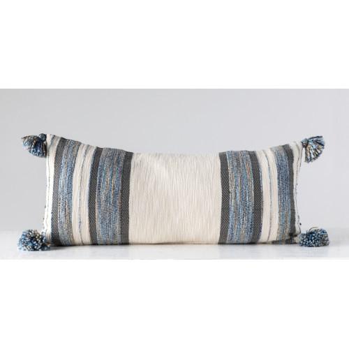 Cream & Blue Striped Lumbar Pillow