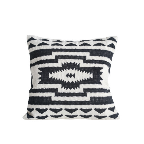 "24"" Kilim Pillow, Black & Natural"