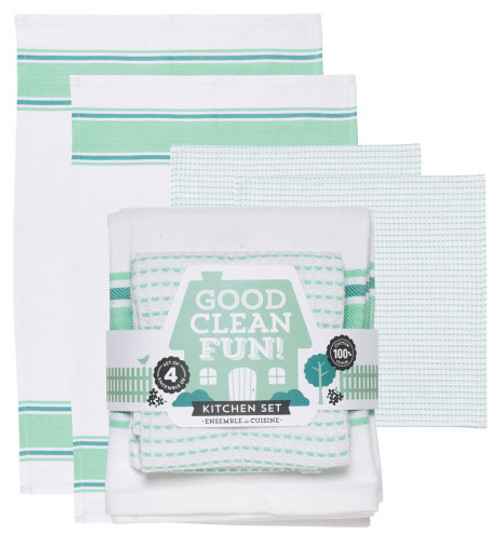 There are a thousand uses for these versatile kitchen linens. The gift packaged set pairs two absorbent kitchen towels with two soft, textured dishcloths, ready for washing, drying and more. 100% cotton W18 x L28 and W13 x L13 inch Made in India