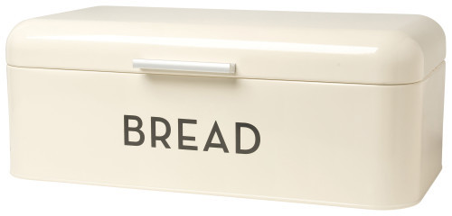 Metal bread bins provide a home for buns, baguettes and bagels alike. The lid swings up easily, and small holes in the back allow air to circulate.  Powder-coated steel W6.5 x L16 x D9 inch Made in China