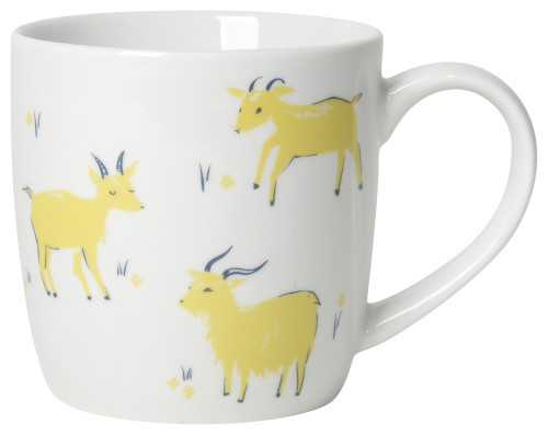 This gorgeous mug in elegant porcelain is a surefire conversation starter, because a good chat doesn't start over a salad. Choose from a variety of patterns to match your table setting, from flora to fauna, and cafes to books.  Porcelain 12 oz Made in China
