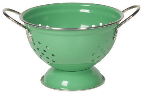 This colorful colander performs equally well holding fruit or straining pasta. Powder coated steel contrasts brightly against the stainless steel rim and handles while a flat base ensures stability.  Powder coated steel  DIA 9 x H5.5 inch Made in China